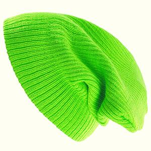 Slouchy Neon Green Beanie Hat - Unisex