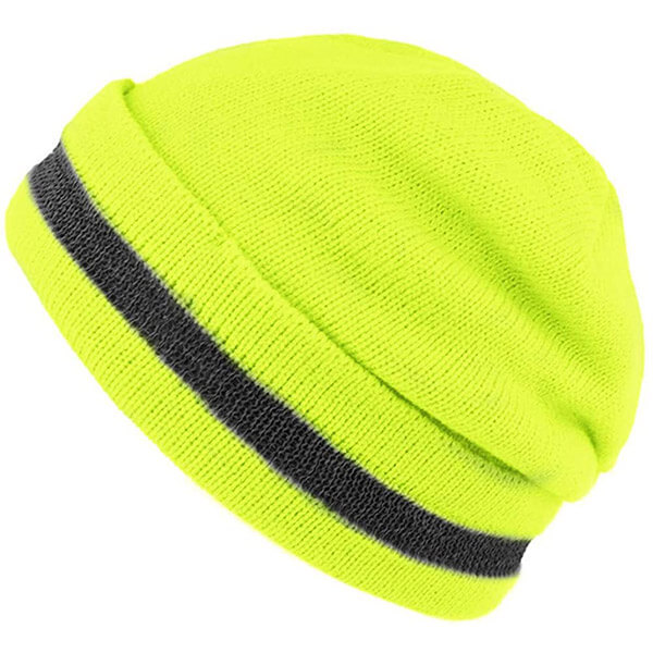 Knitted Neon Beanie with Reflective Stripe