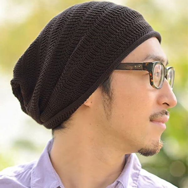 Cotton and Acrylic Men Slouchy Beanie