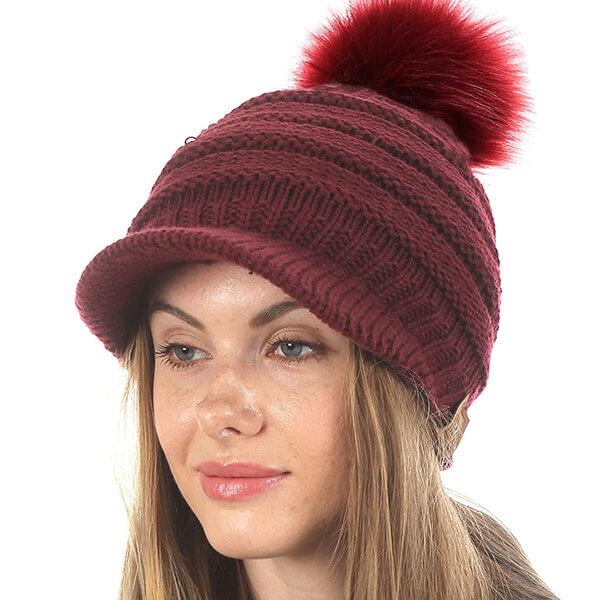 Mirmaru Women's Visor Pom Pom Beanie Hat