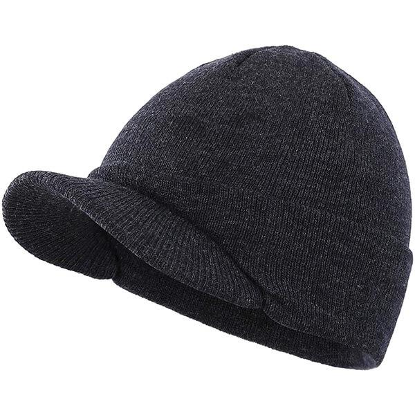 Men's Winter Beanie Hat with Visor