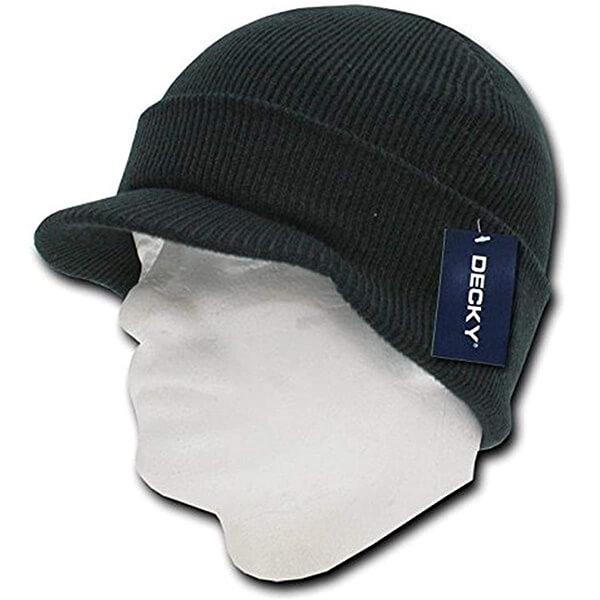 Classic Snug fit Knit Cap, Pre-Curved Visor Hat