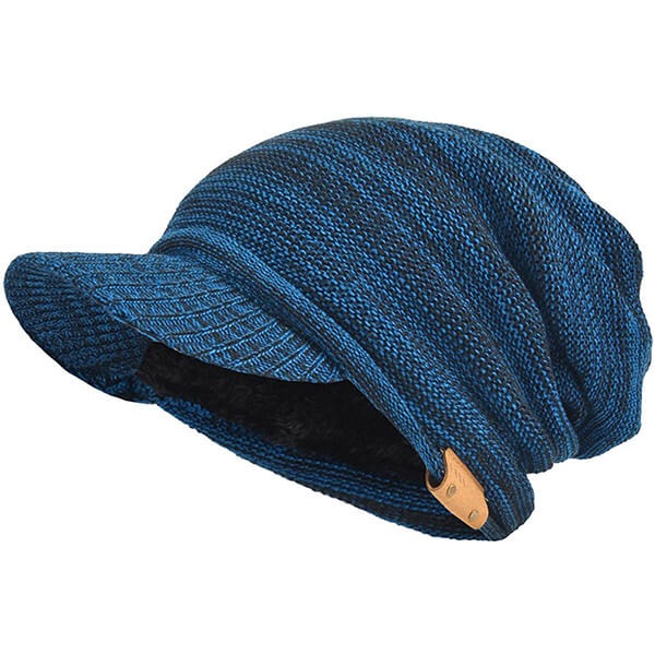 Men's Blue With Black Threads Slouchy Billed Beanie with Fleece Lining