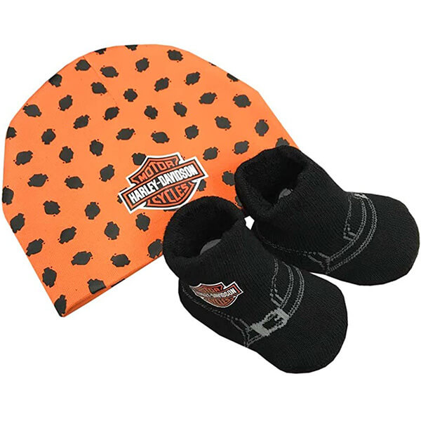 Harley-Davidson Baby Boy's Beanie & Booties Set