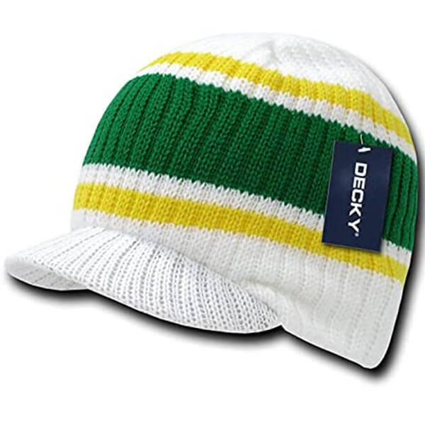 Men's White with Green and Yellow Stripes Beanie With Bill