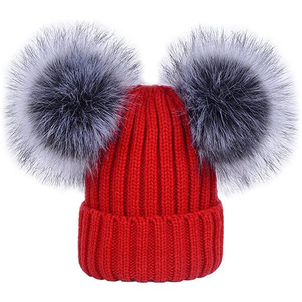 Women's Winter Double Faux Fur Pom Pom Beanie