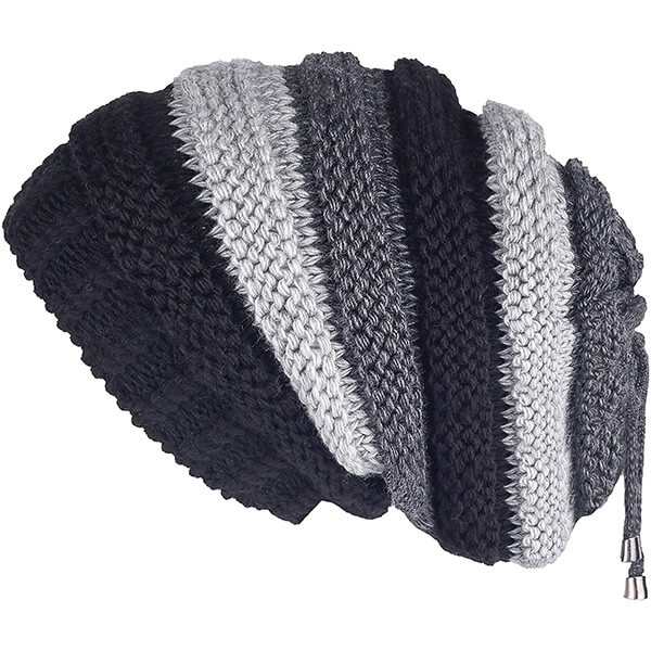 Black with White and Gray Stripes Oversized Beanie
