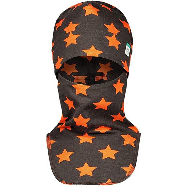 Dark Brown-orange Star Organic Kid's Winter Face Mask