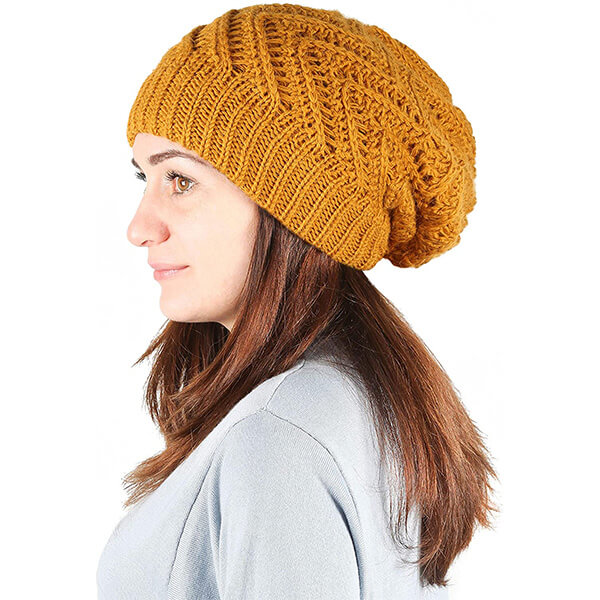 Fall-yellow Colored Knit Oversized Beanie