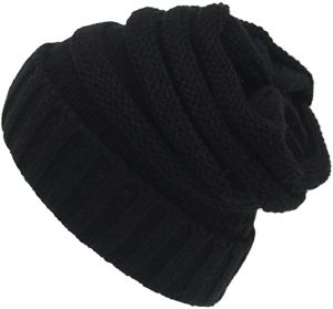 Beanie Tail Slouchy Ponytail Soft Stretch Cable Messy High Bun Knit Hat.