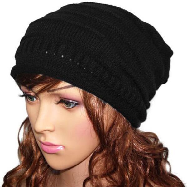 Black Oversized Beanie Hat