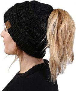 CC Ponytail Messy Bun BeanieTail Womens Beanie Solid Ribbed Hat Cap.