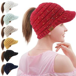 Red warm winter knit beanie with ponytail hole