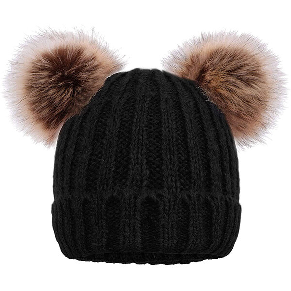 Arctic Paw Cable Knit Double Pom Beanie