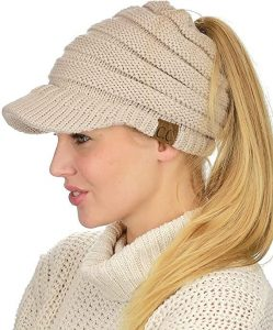 C.C BeanieTail Warm Knit Messy High Bun Ponytail Visor Beanie Cap.