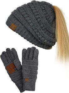 Dark metallic gray knit beanie with ponytail hole