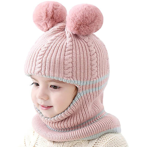 Pink Toddler's Balaclava with Double Pom Poms