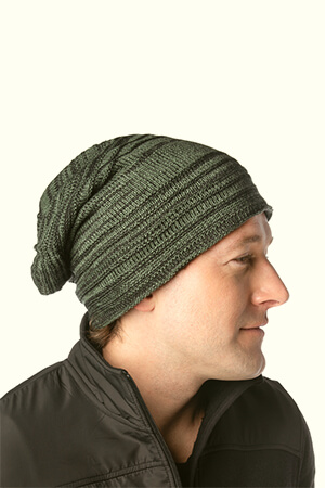 Striped baggy beanie men's ribbed style