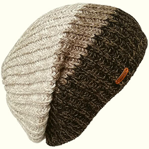 Three colors striped baggy beanie men's ribbed design