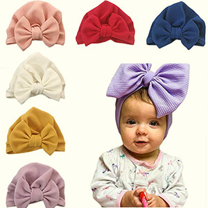 6 pack baby beanie with a bow in large size