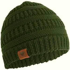 Army green knit baby boy's beanie hat
