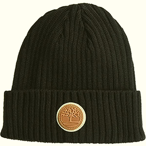 Black Timberland beanie with leather circle-shaped logo