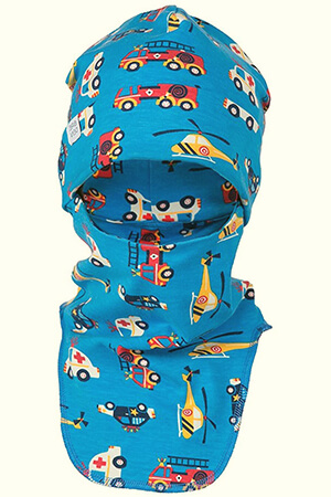 Blue vehicle organic kid's balaclava