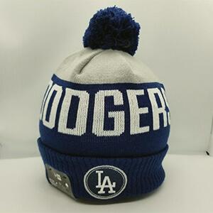 Blue-light gray Dodgers beanie with white LA Dodgers script