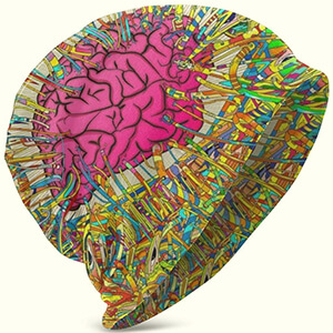 Colorful artistic brain beanie