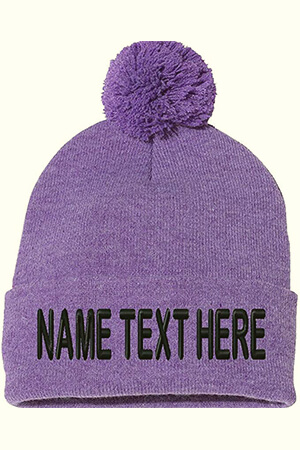 Heather purple knit custom beanie with pom