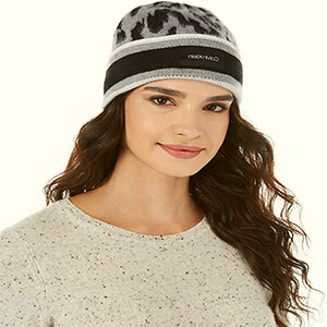 Leopard Calvin Klein beanie women with a wide stripe