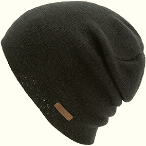 Monochrome slouchy with leather tag Coal beanie