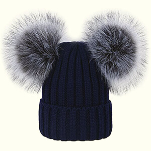 Navy blue double pom poms beanie