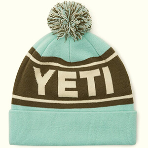 Seafoam colored Yeti beanie with pom pom