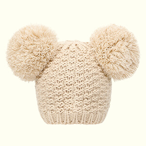 Beige knit cute double pom poms beanie
