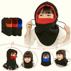 Black-red hoodie style kid's balaclava