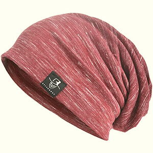 Chic thin striped baggy red thin beanie hat for summer