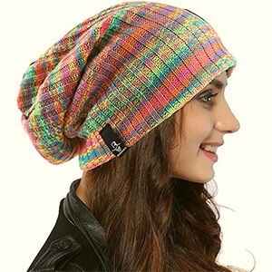 Colorful slouchy oversized beanie for women