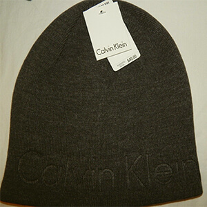 Dark gray knit Calvin Klein beanie with embossed logo