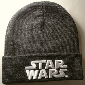 Gray Star wars beanie with white script