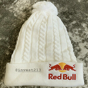 Rare white winter Red Bull beanie cable knit