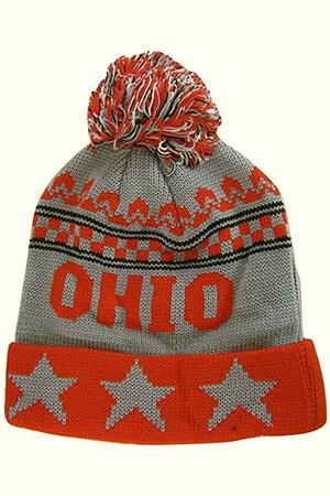 Red-gray stars Ohio state beanie with pom pom