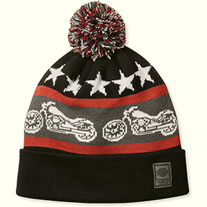 Retro folded Harley-Davidson beanie with motorcycle graphics