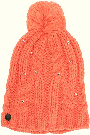 Twist braid knit fleece-lined beanie women with zircon