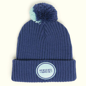 Two-colored pom Herschel beanie