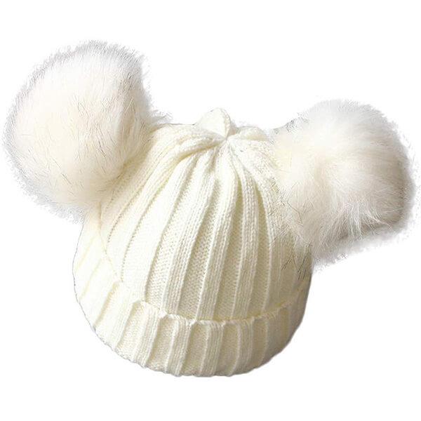 White Knit Baby Boy's Beanie Hat with Double Pom Poms