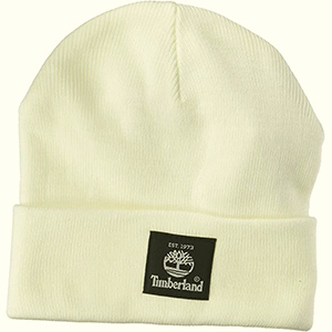 White Timberland beanie with black woven label