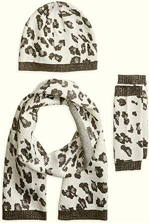 3 Piece Set Leopard set Calvin Klein beanie women