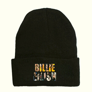 Billie Eilish black beanie with printed Billie Eilish script filled with a lot of her photos