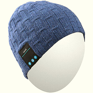 Cuffless beanies with built-in headphones with decorative stitch